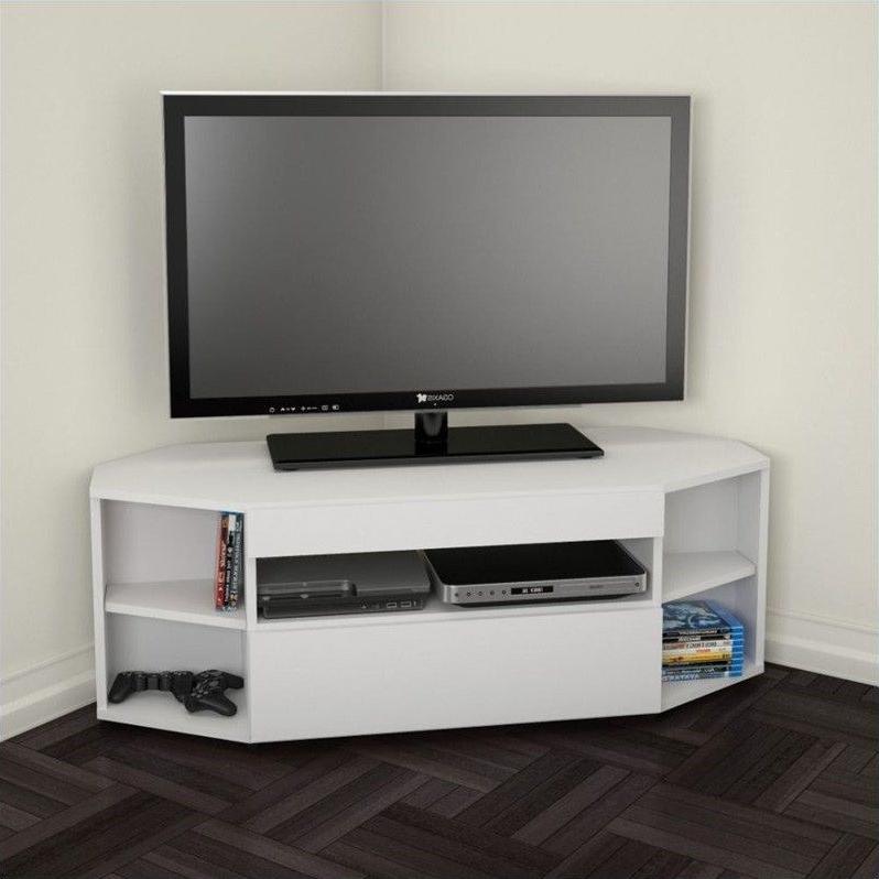 Nexera 226103 Blvd Corner Tv Stand 48 Inch White – 226103 Throughout Most Recently Released Priya Corner Tv Stands (View 11 of 25)
