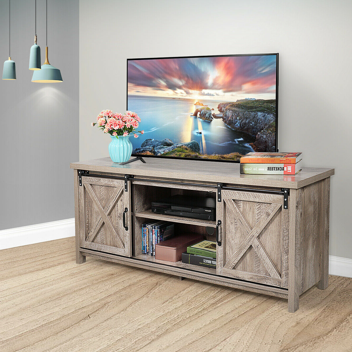 Nufazes Sliding Barn Door Tv Stand,58 Inch Storage Table Regarding 2018 Barn Door Wood Tv Stands (View 2 of 10)