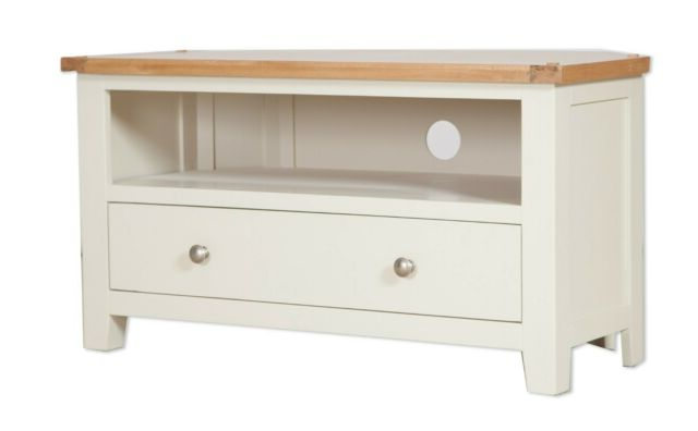 Oak Corner Tv Unit Solid Drawer Cabinet Pine Dorset For Famous Compton Ivory Corner Tv Stands With Baskets (View 13 of 25)