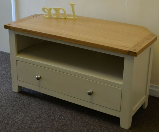 Oak Corner Tv Unit Solid Drawer Cabinet Pine Dorset Within Famous Compton Ivory Corner Tv Stands With Baskets (View 1 of 25)