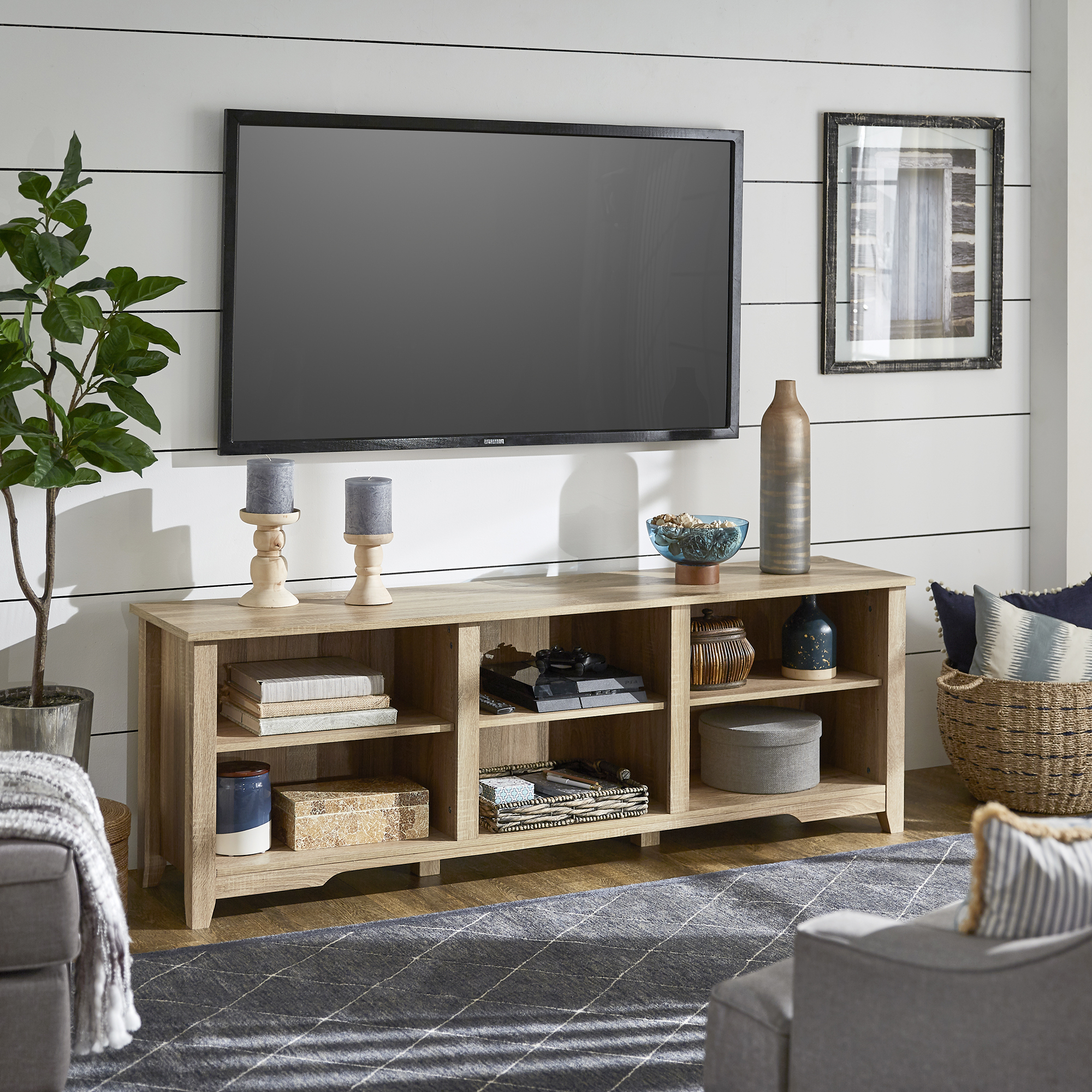 """Oak Finish 70 Inch Tv Stand – Inspire Q Home Pertaining To Widely Used Kinsella Tv Stands For Tvs Up To 70"""" (View 10 of 25)"""