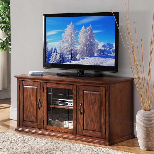 """Oak Wood/glass 50 Inch Leaded Tv Stand – Free Shipping In Well Liked Tracy Tv Stands For Tvs Up To 50"""" (View 11 of 25)"""