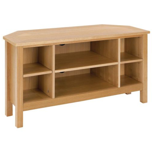 Oakville Corner Tv Stands Intended For Most Recent Oak Wood Finish Flat Screen Plasma Lcd Corner Tv Table (View 2 of 10)