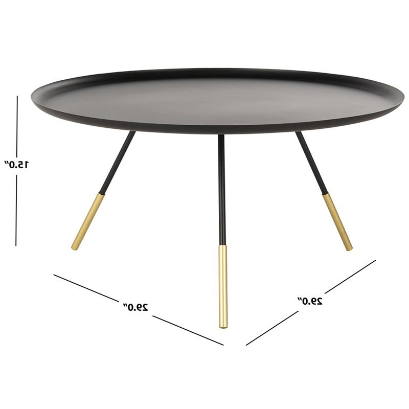"""Orsen Tv Stands In Preferred Safavieh Orson 29"""" Round Metal Coffee Table In Black And (View 18 of 25)"""