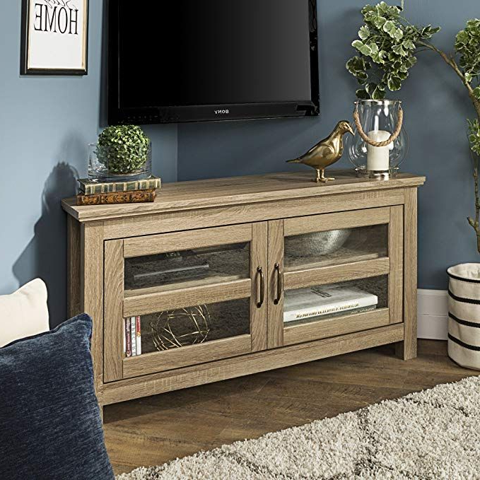 Orsen Wide Tv Stands Within Current New 44 Inch Wide Corner Television Stand Driftwood Finish (View 16 of 25)