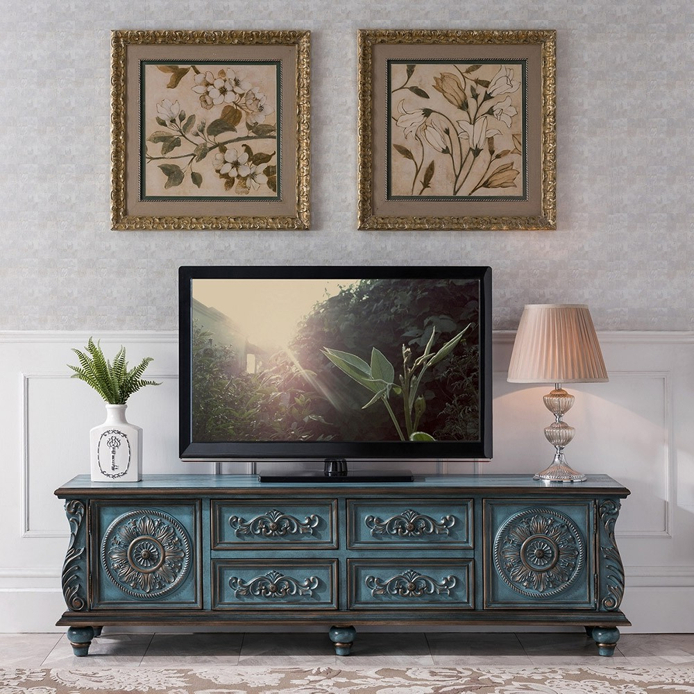 """Owen Retro Tv Unit Stands Throughout 2017 Luxury Vintage 59"""" / 70"""" Tv Stand Distressed Carved Tv (View 15 of 25)"""