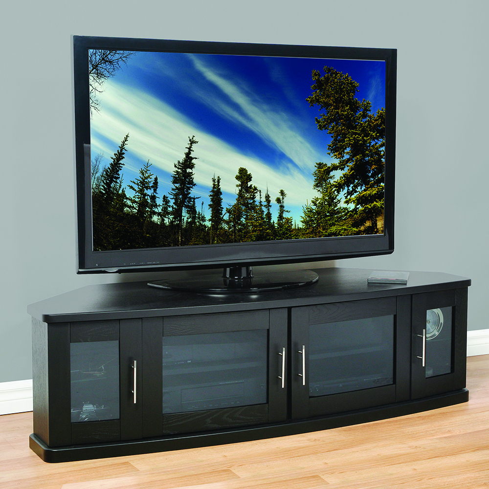 """Plateau Newport62b Corner Tv Stand Up To 70"""" Tvs In Black Intended For Well Known Lorraine Tv Stands For Tvs Up To 70"""" (View 6 of 25)"""