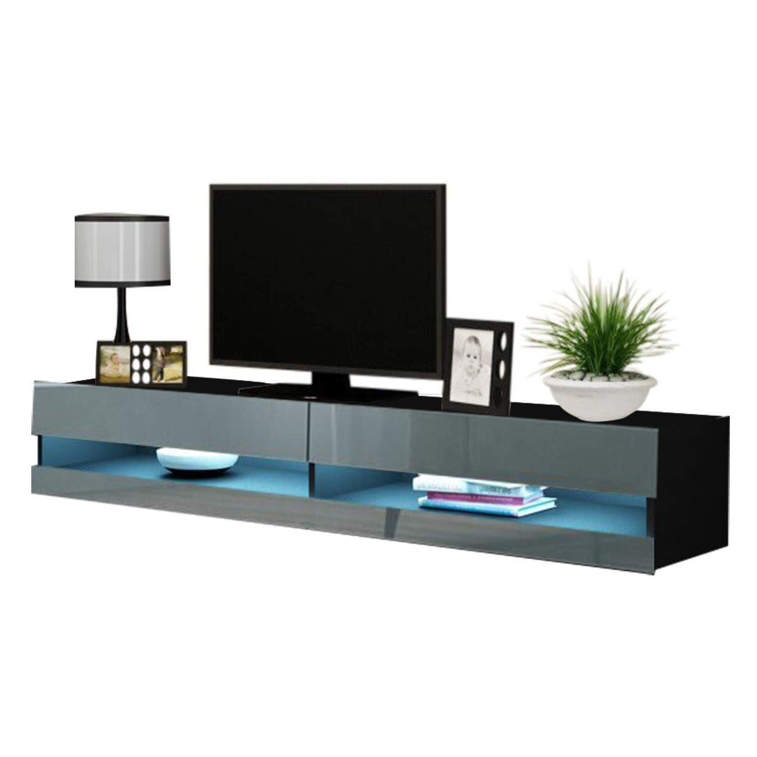 """Polar Led Tv Stands Intended For Latest Vigo New 180 Led Wall Mounted 71"""" Floating Tv Stand, Black (View 10 of 10)"""