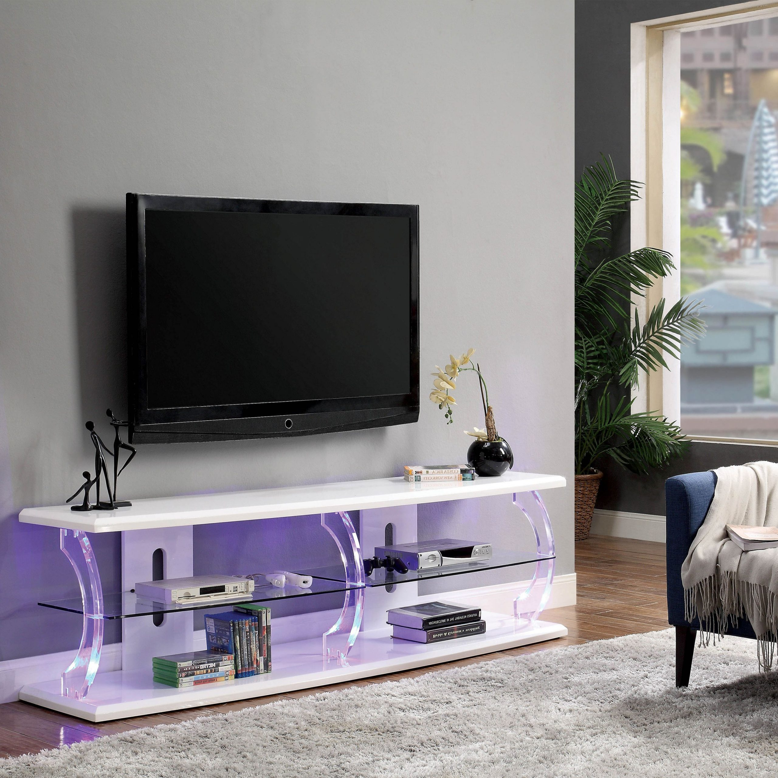 Polar Led Tv Stands With Regard To Newest Furniture Of America Daley Modern White 60 Inch Led Tv (View 6 of 10)