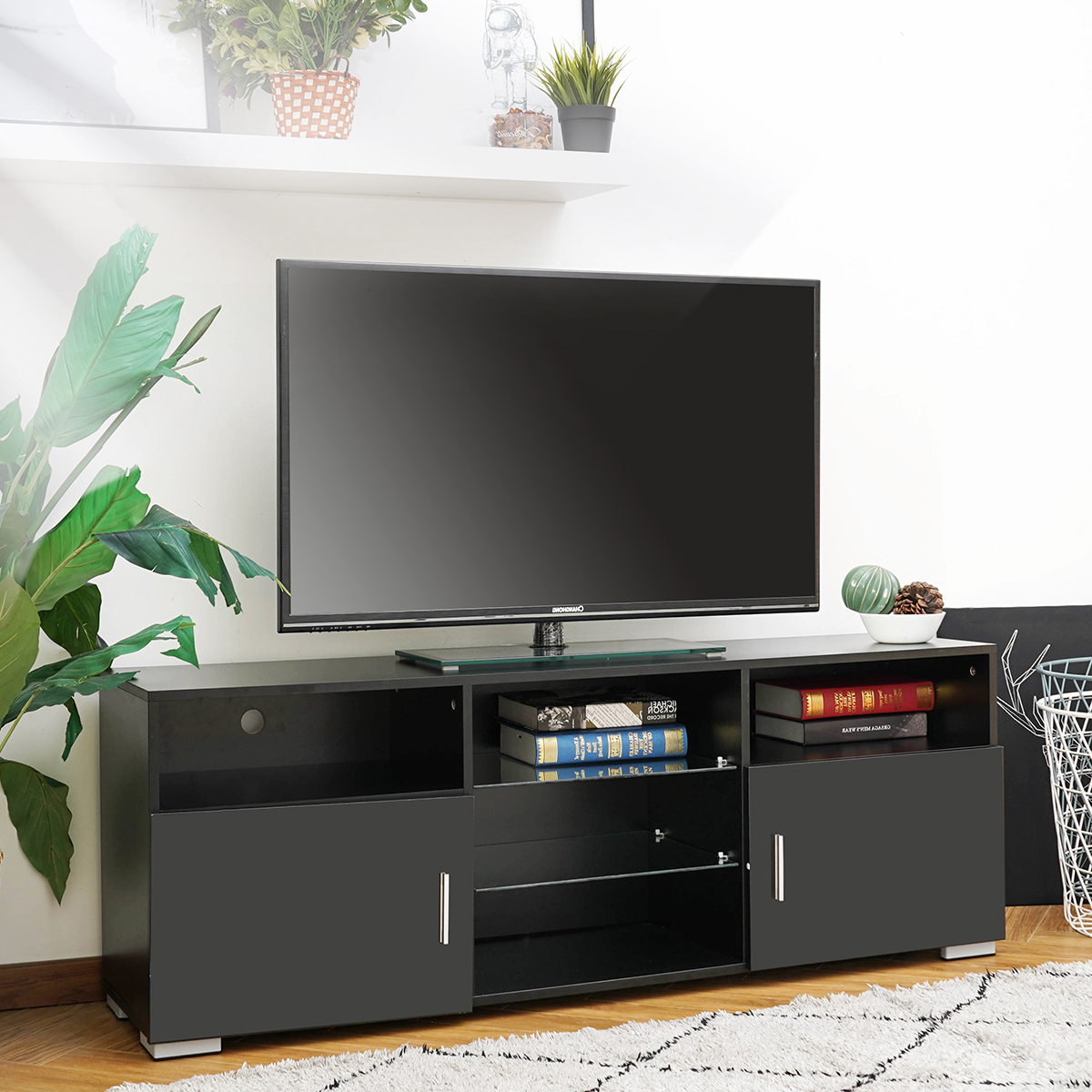 Polar Led Tv Stands Within Newest 57'' Led Tv Stand Media Console Cabinet Storage W (View 2 of 10)