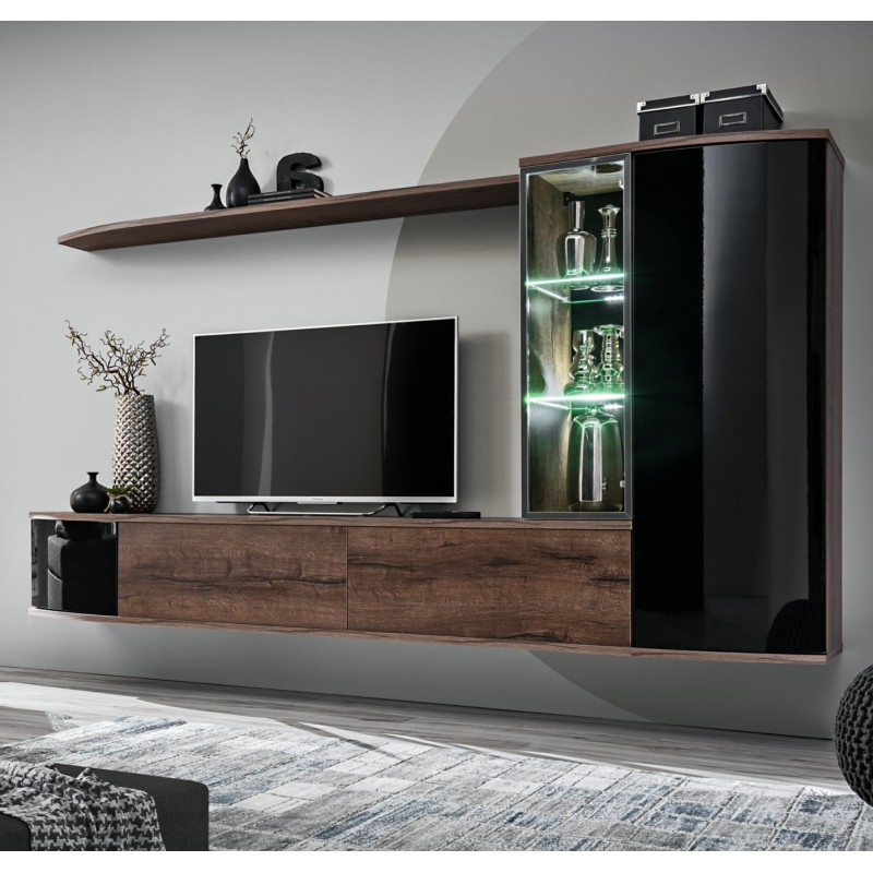 Popular Bmf Dark Wall Unit 180cm Wide Floating Tv Stand Cabinets With Regard To Galicia 180cm Led Wide Wall Tv Unit Stands (View 3 of 10)