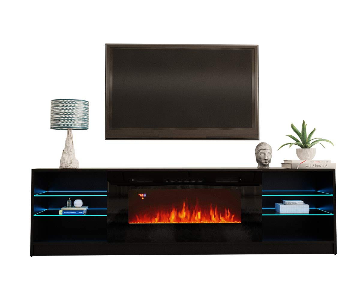 """Popular Boston 01 Electric Fireplace Modern 79"""" Tv Stand – Walmart Throughout Boston Tv Stands (View 1 of 10)"""