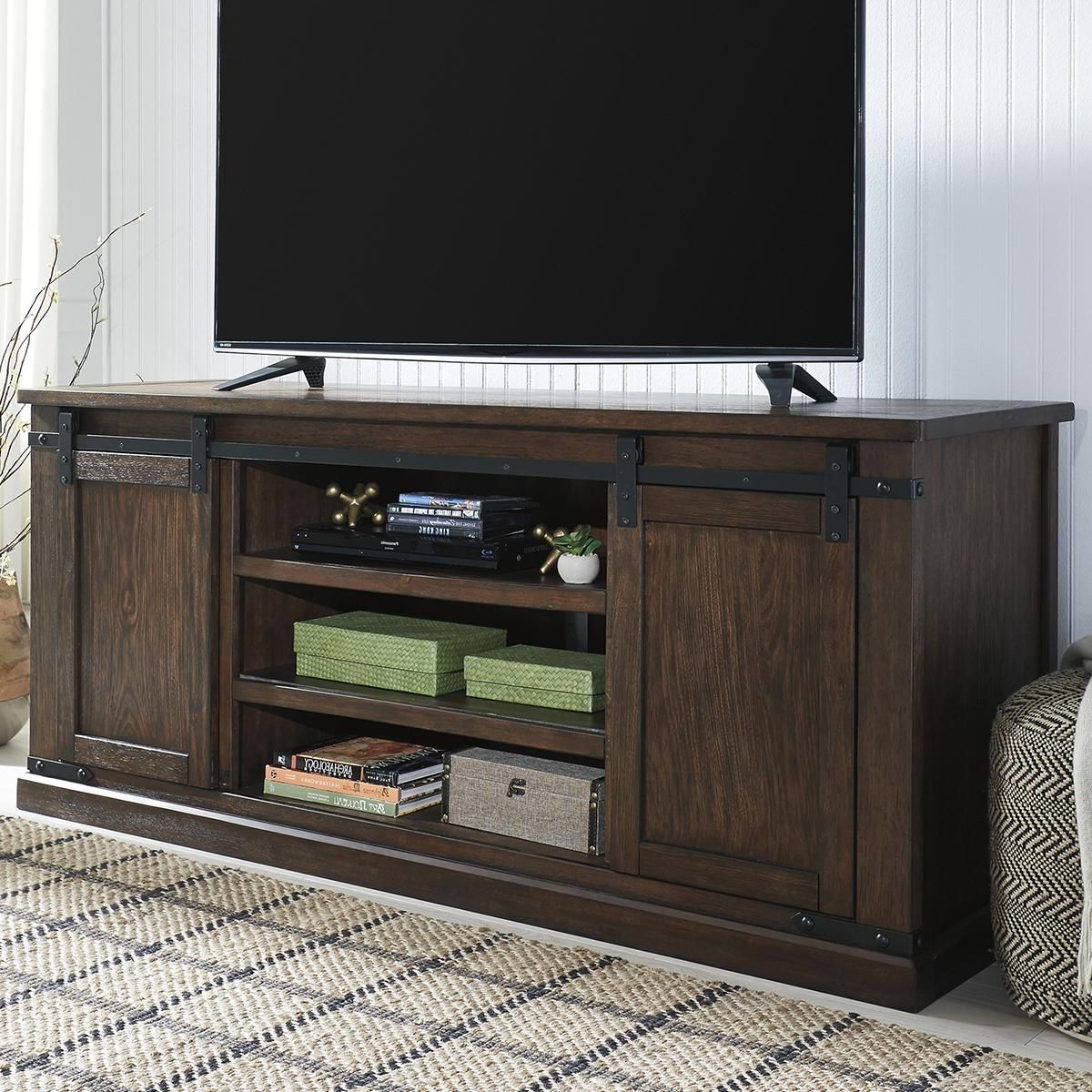 Popular Chromium Extra Wide Tv Unit Stands Regarding At Home Budmore Extra Large Tv Stand In Rustic Brown (View 1 of 10)
