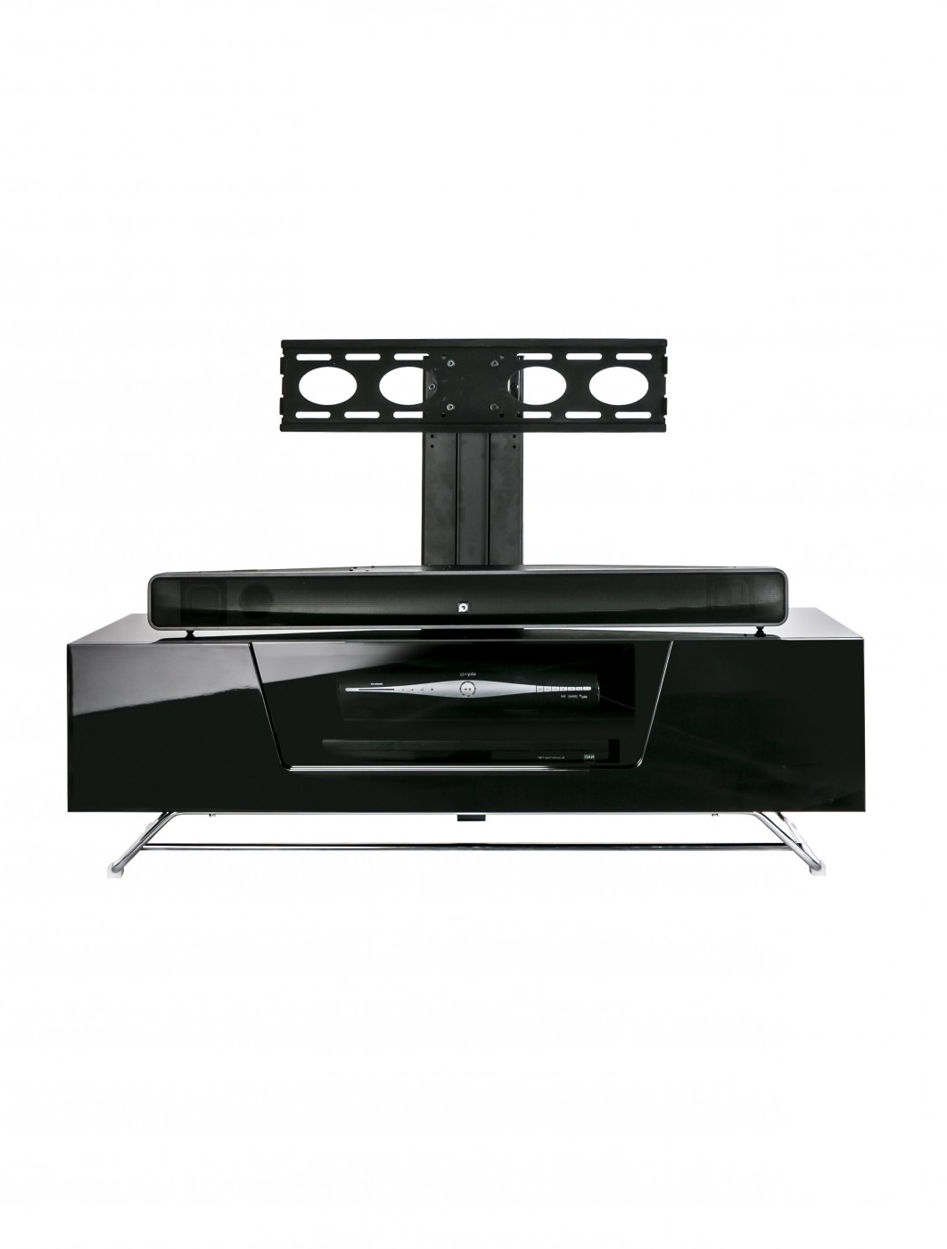 Popular Chromium Tv Stands Intended For Alphason Chromium Cantilever Tv Stand Cro2 1200bkt Bk (View 16 of 25)