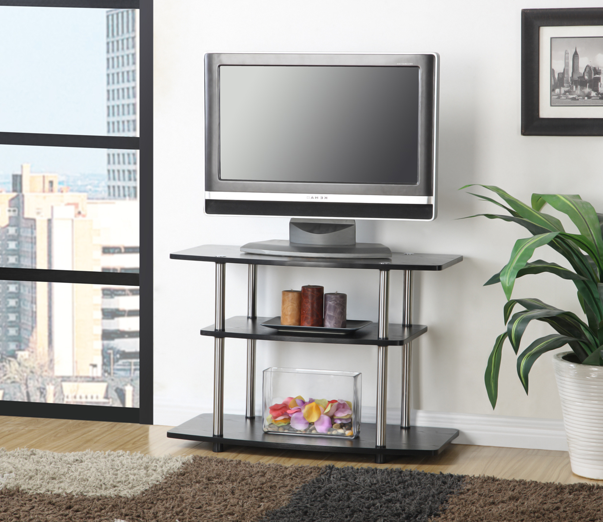Popular Convenience Concepts Designs2go No Tools 3 Tier Tv Stand In Mainstays Tv Stands For Tvs With Multiple Colors (View 10 of 10)