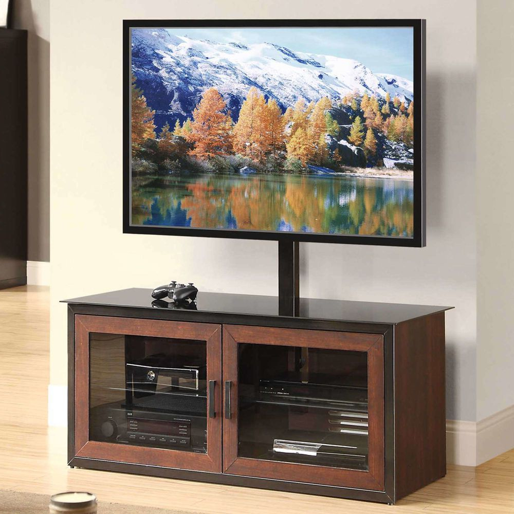 """Popular Lansing Tv Stands For Tvs Up To 55"""" Pertaining To Closed Glass Door 3 In 1 Entertainment Center Cabinet Tv (View 8 of 25)"""