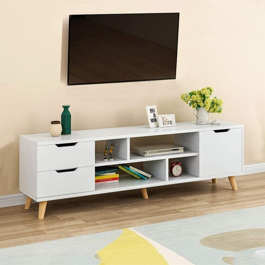 Popular Large Tv Stand Shelves For 43//50//55//65 Inch Tv White Within Alden Design Wooden Tv Stands With Storage Cabinet Espresso (View 2 of 10)