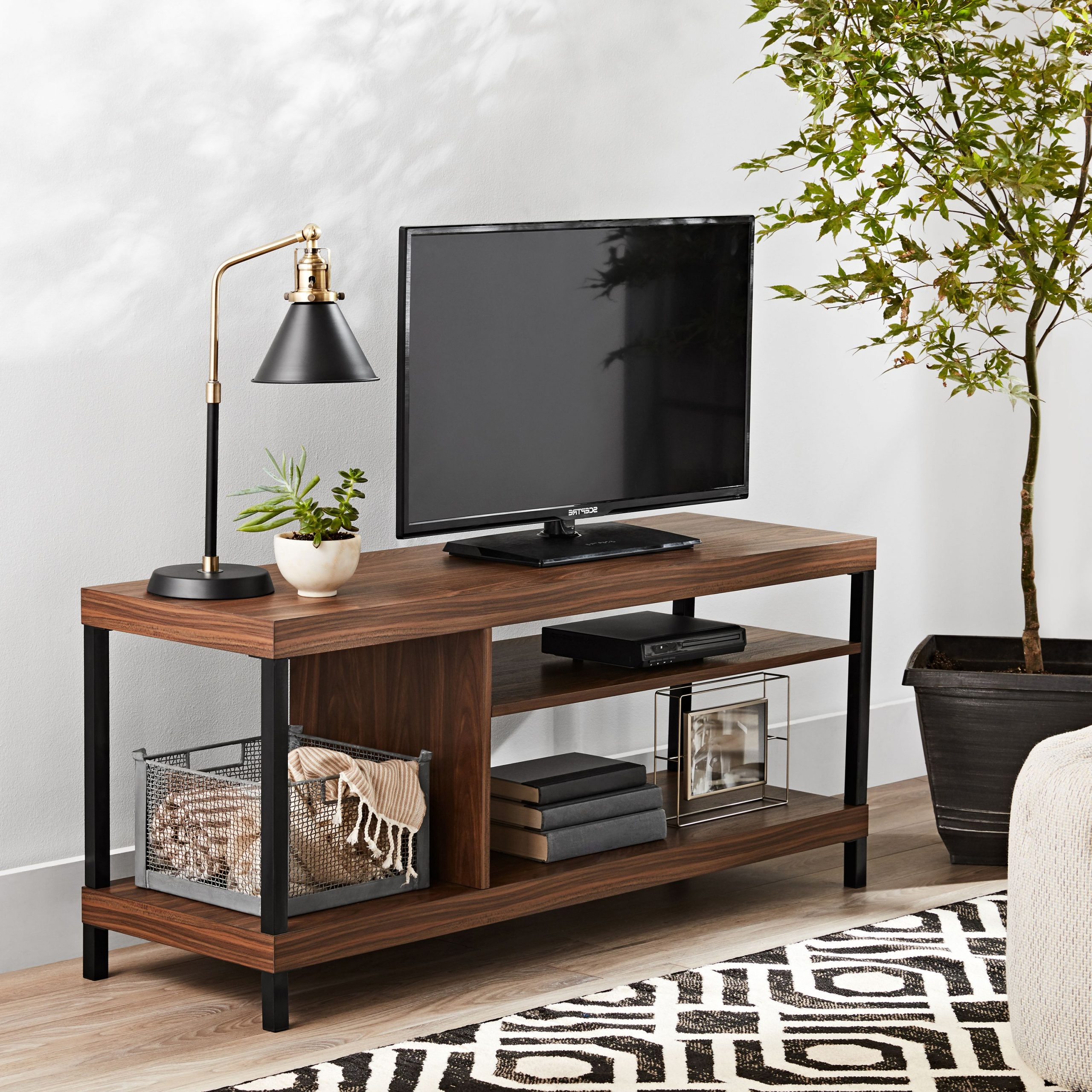 Popular Mainstays Parsons Tv Stands With Multiple Finishes In Mainstays Sumpter Park Collection Media Tv Stand For Tvs (View 7 of 10)