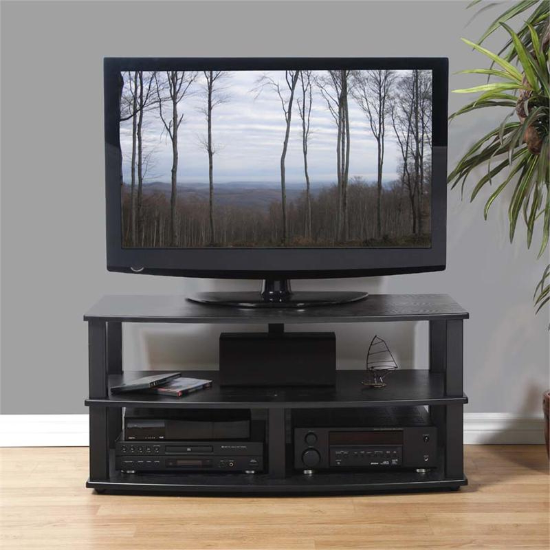 """Popular Mathew Tv Stands For Tvs Up To 43"""" In Plateau Xt Series Heavy Duty 3 Shelf Black Wood Tv Stand (View 15 of 25)"""