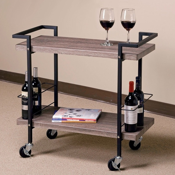 Popular Maxwell Ash Wood/ Black Metal Rolling Serving Cart Intended For Modern Mobile Rolling Tv Stands With Metal Shelf Black Finish (View 1 of 10)