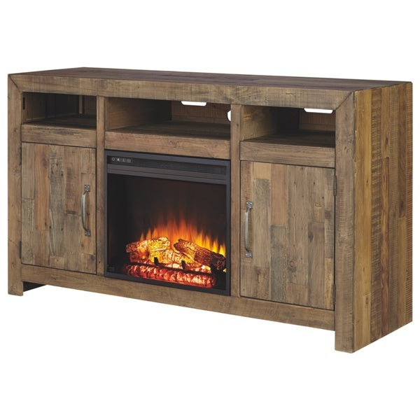 Popular Modern Farmhouse Fireplace Credenza Tv Stands Rustic Gray Finish With Shop Large Tv Stand With Fireplace Insert – Free Shipping (View 1 of 10)