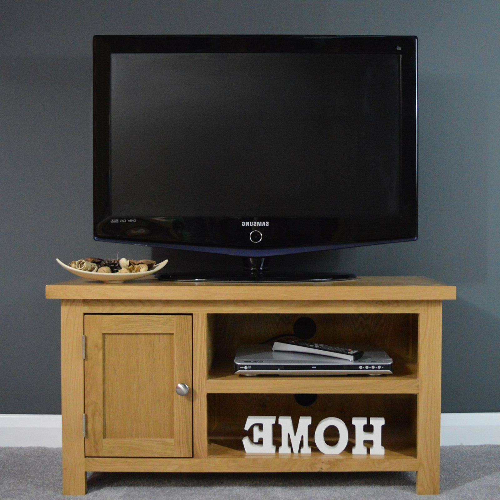 Popular Oak Small Tv Unit Plasma / Media Cabinet / Solid Wood Tv Intended For Carbon Extra Wide Tv Unit Stands (View 1 of 10)