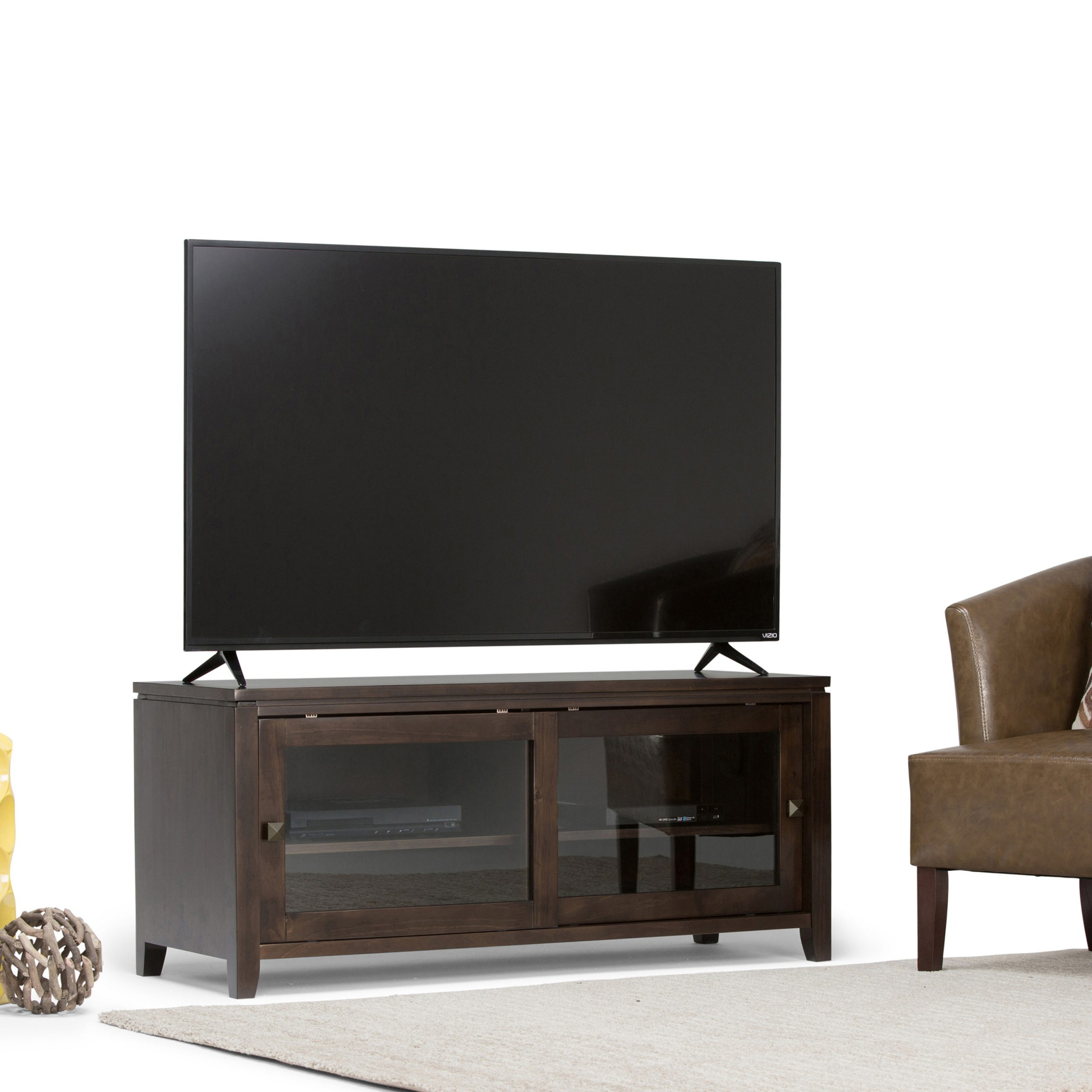 Popular Oliver Wide Tv Stands Throughout Brooklyn + Max City Solid Wood 48 Inch Wide Contemporary (View 2 of 10)