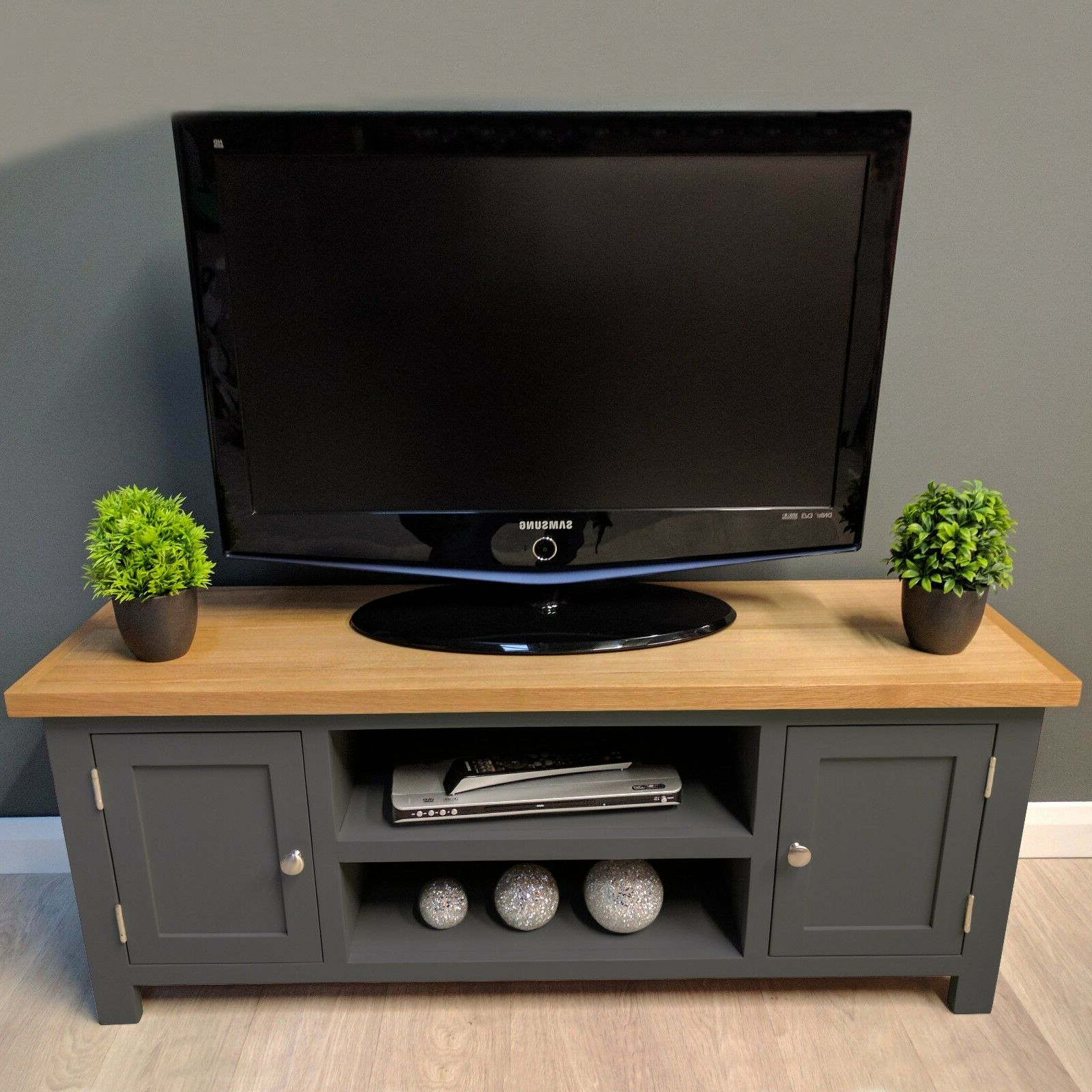 Popular Painted Oak Tv Unit Large / Solid Wood / Dark Grey / Tv In Carbon Tv Unit Stands (View 7 of 10)