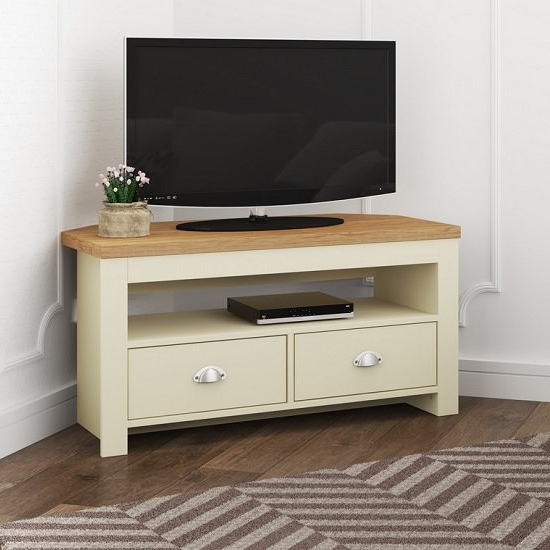 Popular Tv Stands With Drawer And Cabinets Inside Fiona Wooden Corner Tv Stand In Cream And Oak With  (View 7 of 10)