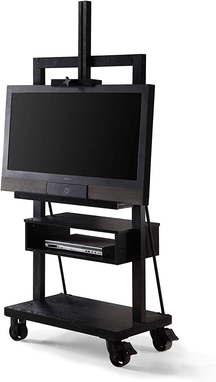 Posh Black 3 Tier Tv Stand For Flat Panel Television Wood In Well Known Tier Entertainment Tv Stands In Black (View 3 of 10)