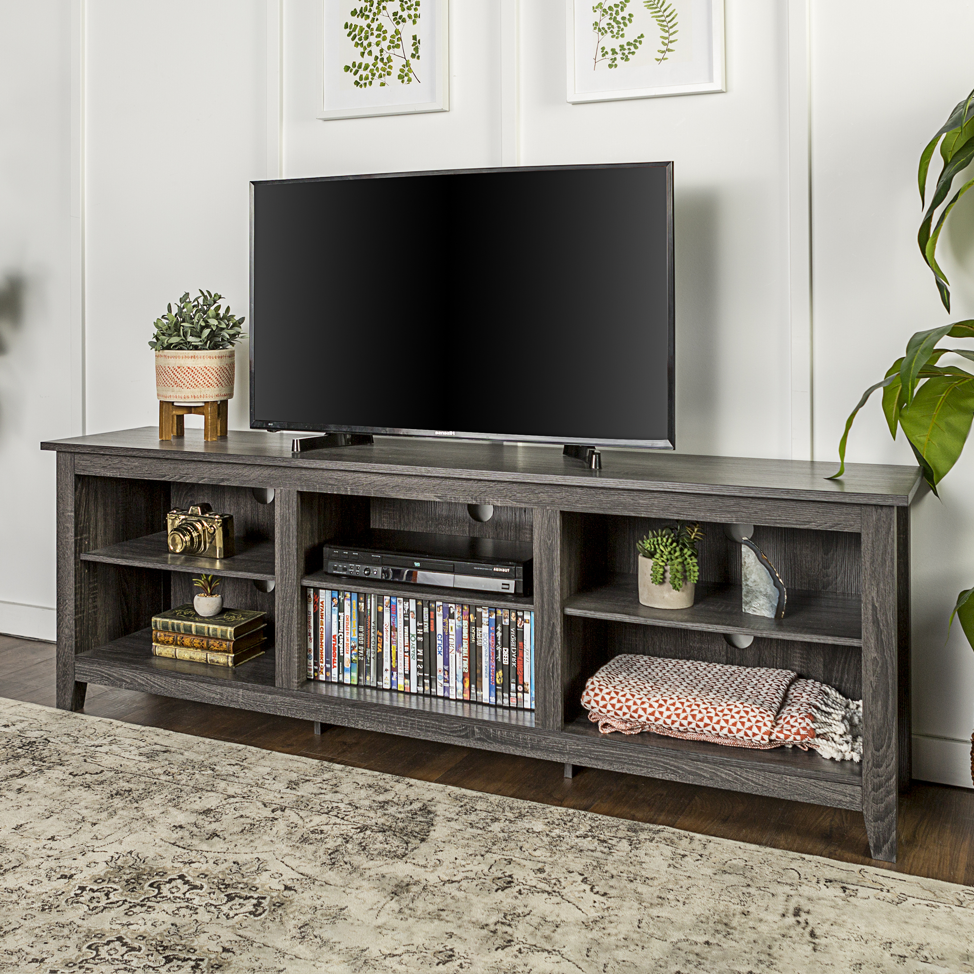 """Preferred 70"""" Wood Media Tv Stand Storage Console – Charcoal For Tv Stands With Table Storage Cabinet In Rustic Gray Wash (View 1 of 10)"""