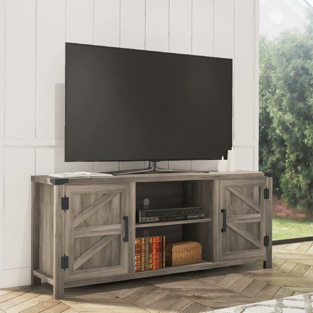 Preferred Corona Grey Flat Screen Tv Unit Stands Within Wampat Farmhouse Barn Door Wood Tv Stands For 65'' Flat (View 2 of 10)