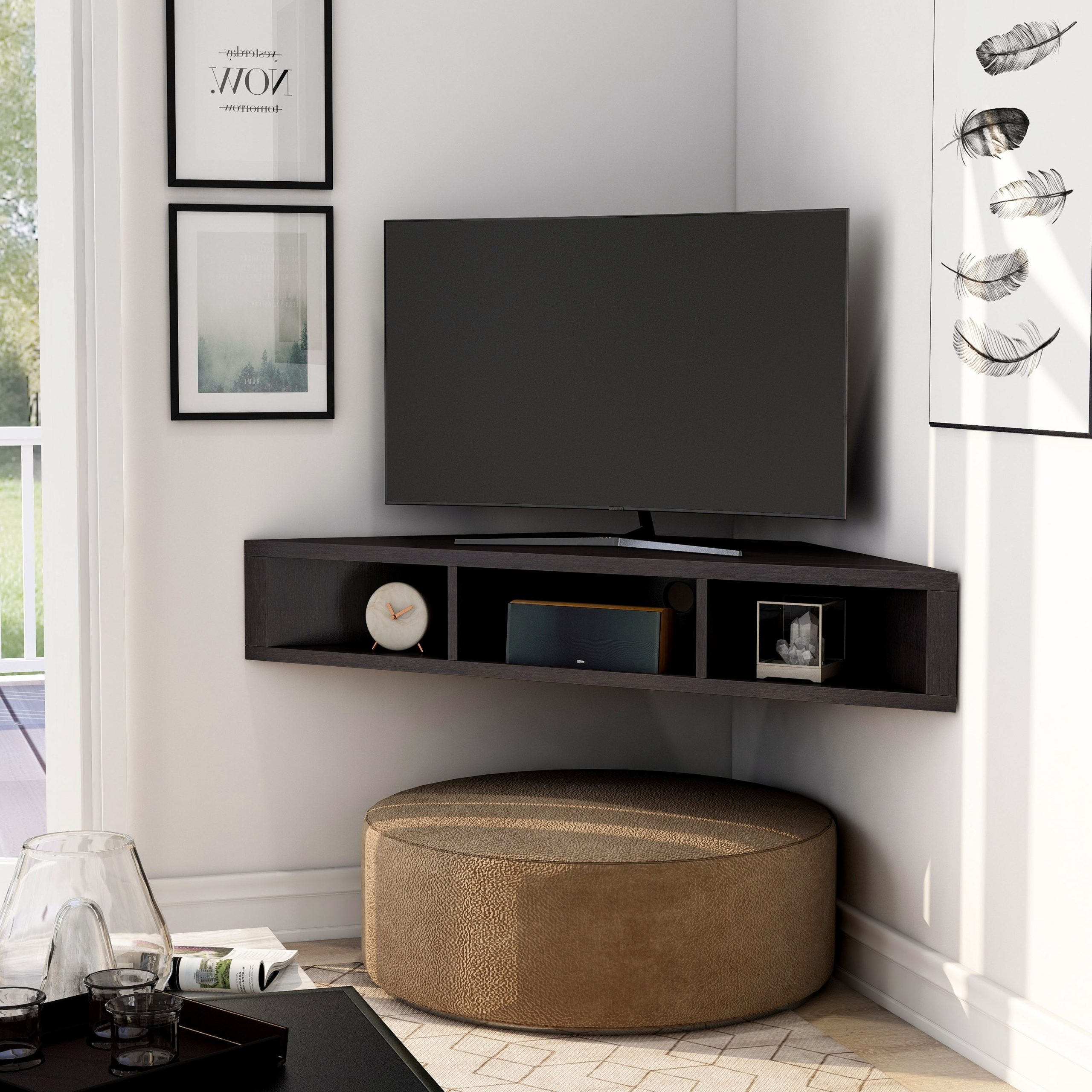 Preferred Floating Corner Tv Shelf White – Canvas Home Throughout Freya Corner Tv Stands (View 2 of 10)