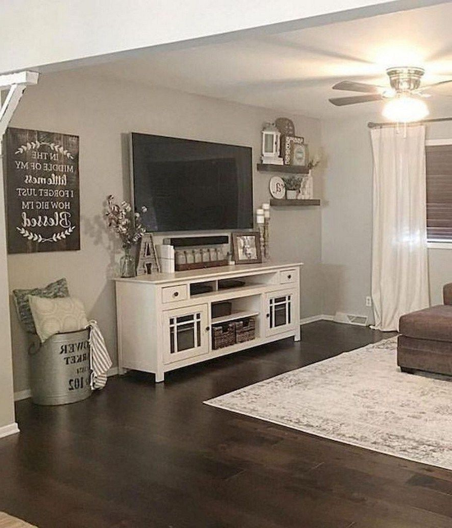 Preferred Jackson Corner Tv Stands Within 43 Best Farmhouse Living Room Tv Wall Decor Ideas  (View 18 of 25)