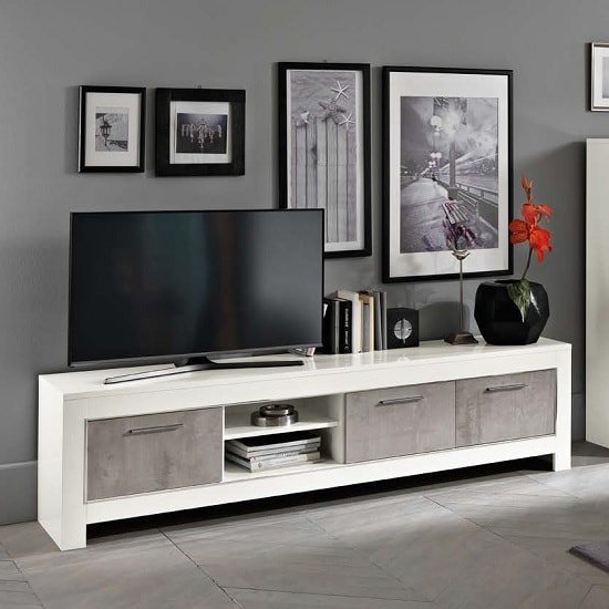 Preferred Lucas Extra Wide Tv Unit Grey Stands Throughout Lorenz Large Tv Stand In Marble And White High Gloss  (View 5 of 10)