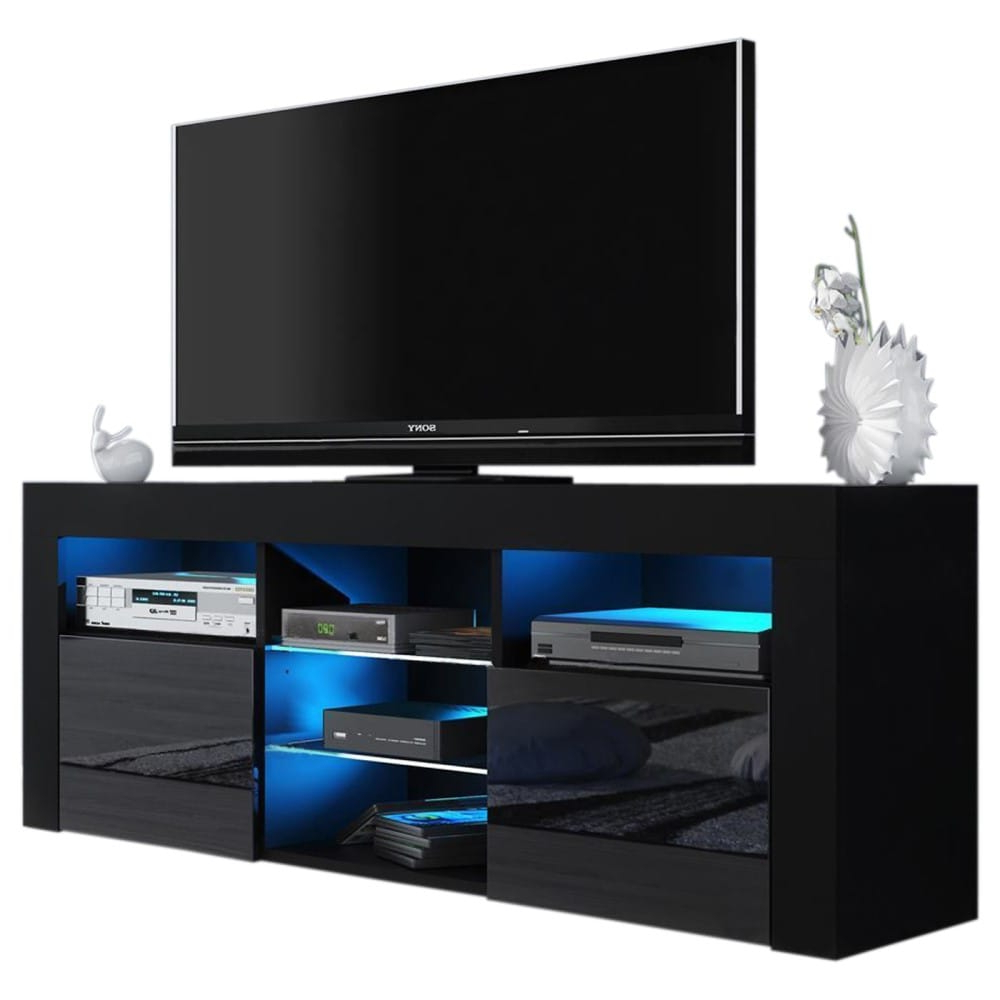 """Preferred Milano 145 Black Modern 58"""" Tv Standmeble Furniture With Regard To Modern Black Floor Glass Tv Stands With Mount (View 6 of 10)"""
