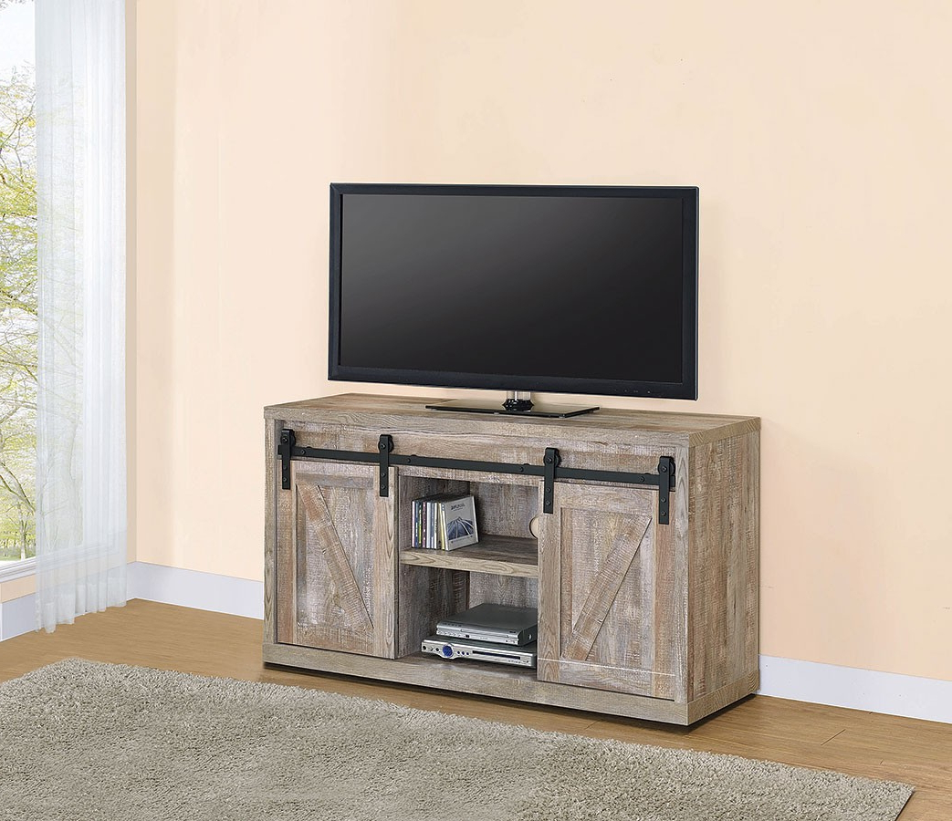 Preferred Modern Tv Stands In Oak Wood And Black Accents With Storage Doors Throughout Weathered Oak 48 Inch Tv Console W/ Sliding Barn Doors (View 7 of 10)