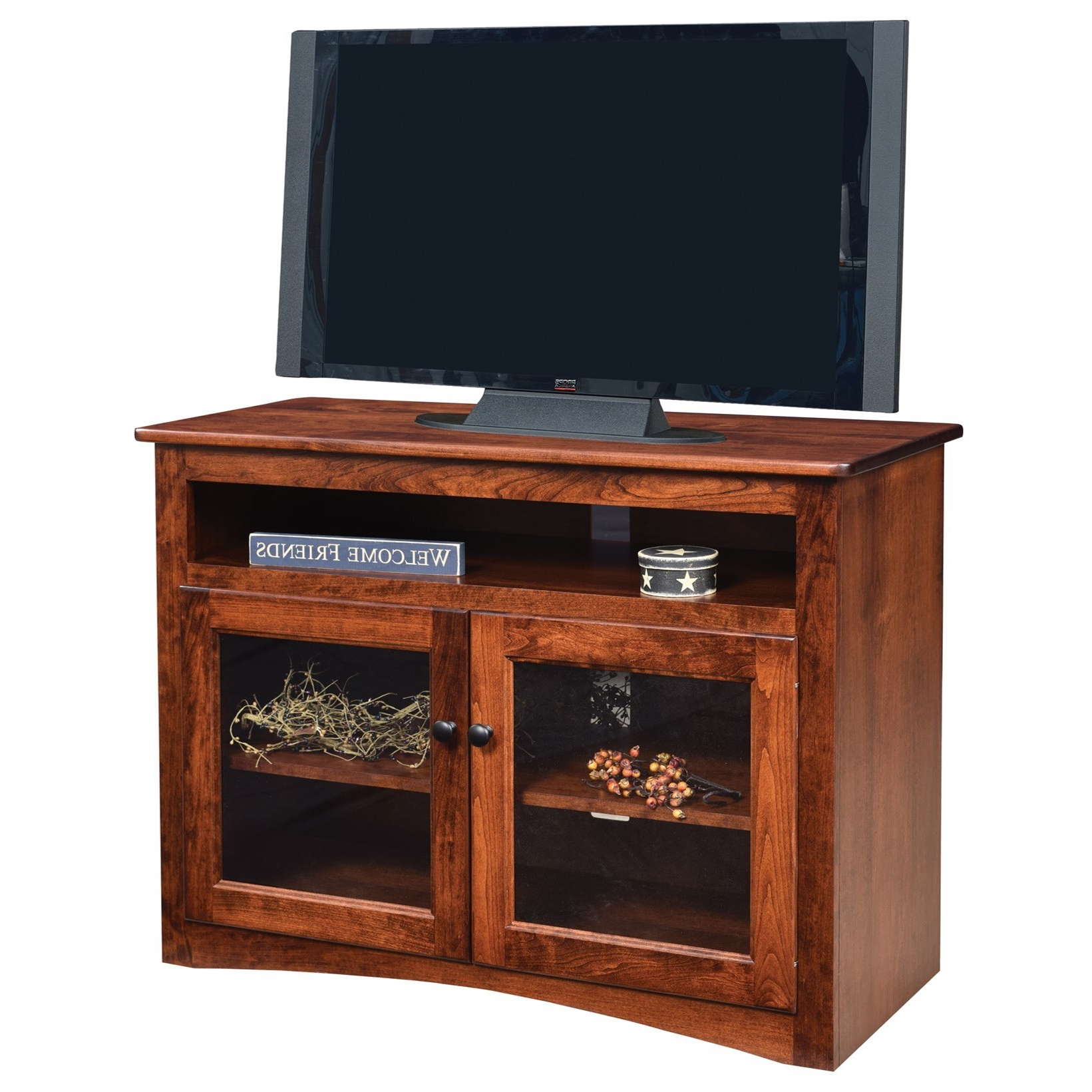"""Preferred Modern Tv Stands In Oak Wood And Black Accents With Storage Doors Within Ashery Oak Economy 40"""" Customizable Solid Wood Tv Stand (View 4 of 10)"""