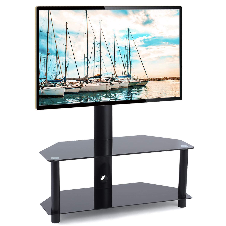 Preferred Rfiver Glass Floor Tv Stand With Swivel Mount Height Regarding Swivel Floor Tv Stands Height Adjustable (View 1 of 10)