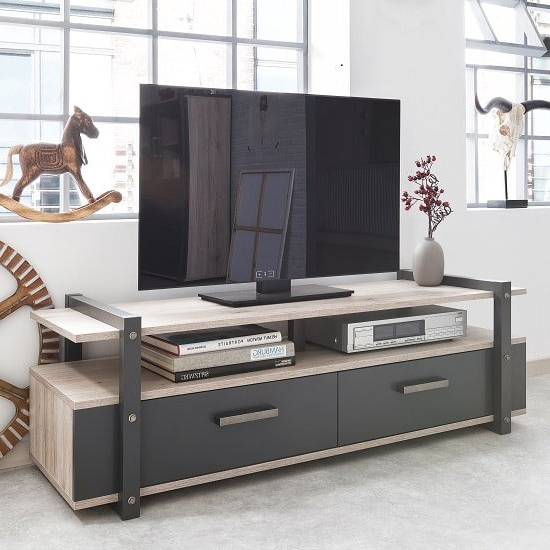 Preferred Sherbourne Oak Corner Tv Stands For Andora Wooden Tv Stand In Sorrento Oak And Anthracite (View 7 of 10)