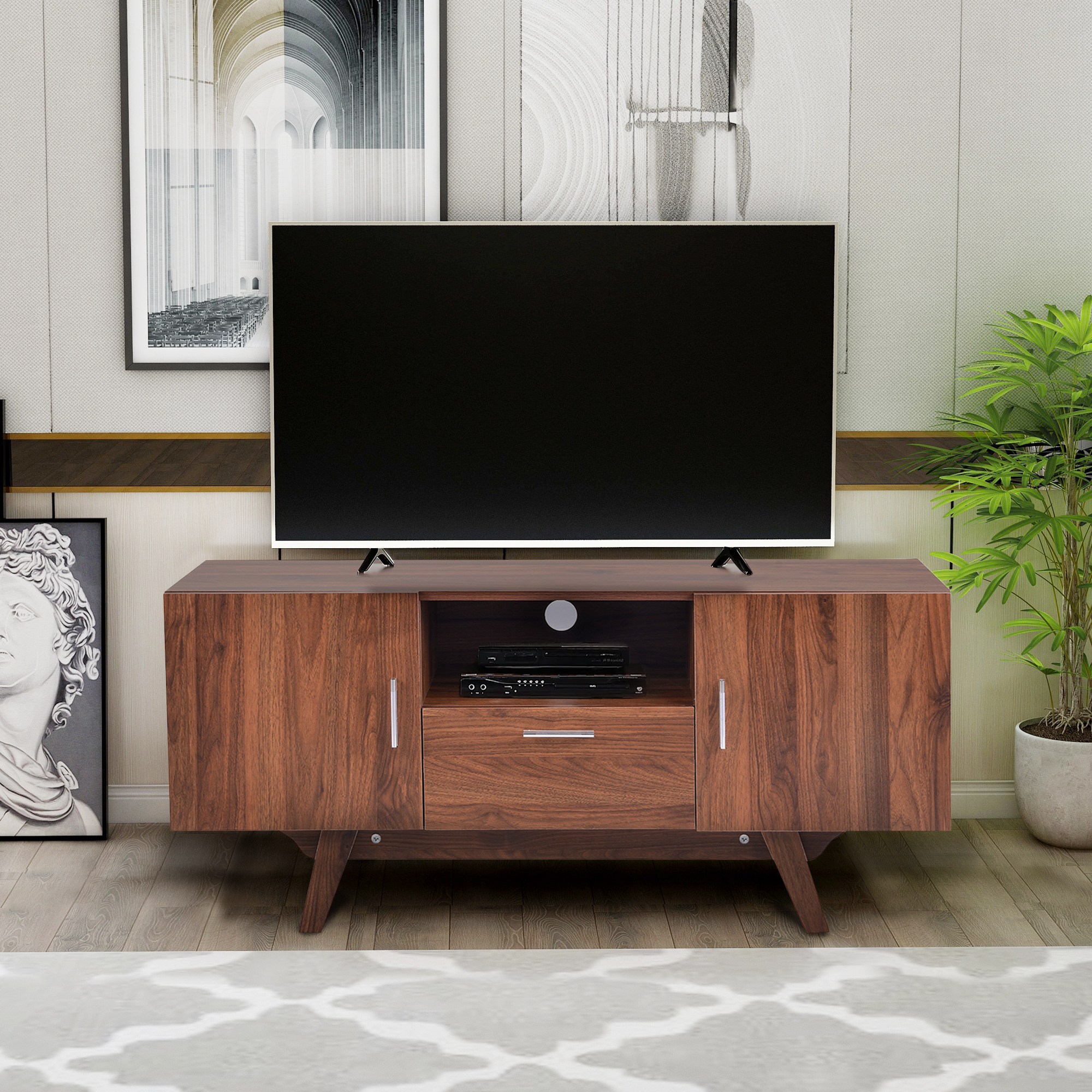 """Preferred Spellman Tv Stands For Tvs Up To 55"""" With Regard To Hommoo Tv Stand With Metal Legs For Tv's Up To 55 Inches (View 9 of 25)"""