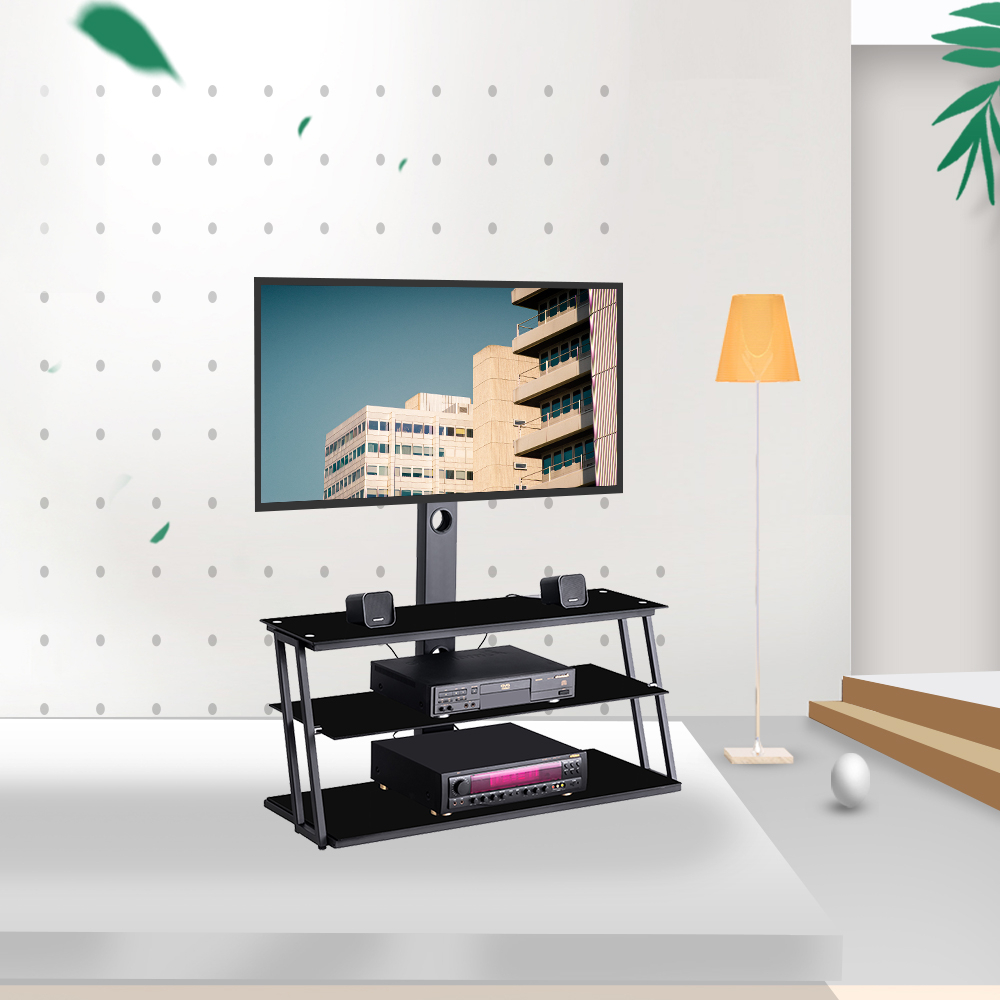 """Preferred Universal Tv Stand, Angle And Height Adjustable 3 Tier Regarding Whalen Furniture Black Tv Stands For 65"""" Flat Panel Tvs With Tempered Glass Shelves (View 2 of 10)"""