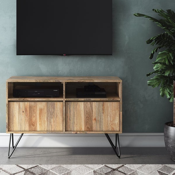 """Preferred Wyndenhall Moreno Solid Mango Wood 42 Inch Wide Industrial Regarding Mathew Tv Stands For Tvs Up To 43"""" (View 19 of 25)"""