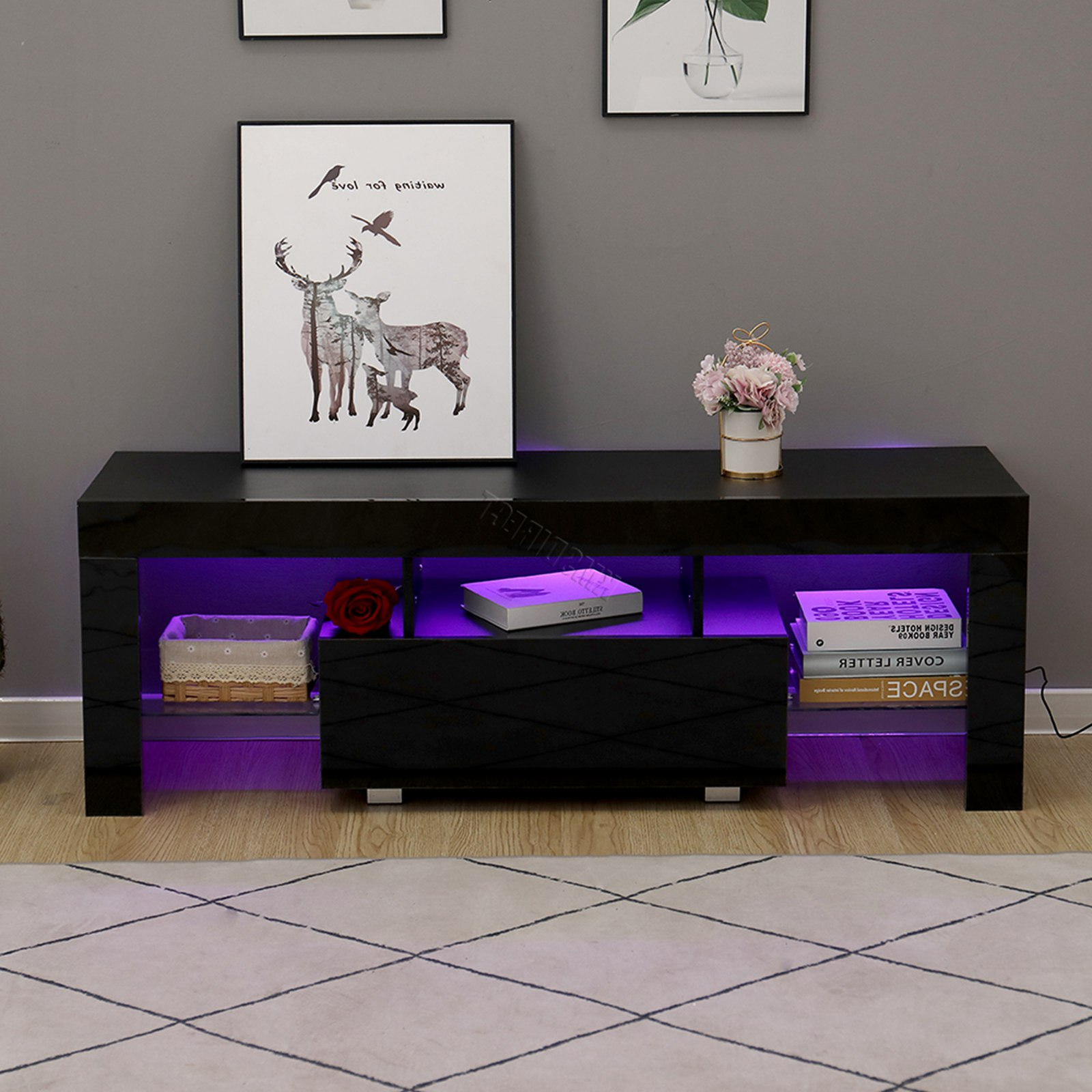 Preferred Zimtown Tv Stands With High Gloss Led Lights With Regard To Westwood Morden High Gloss Matt 130cm Tv Cabinet Unit (View 4 of 10)