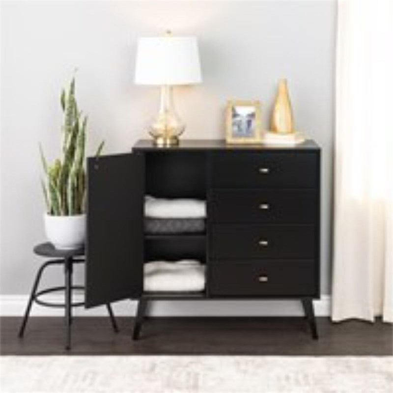 """Prepac Milo Mid Century Modern 4 Drawer Chest With Door In Inside Recent Prepac Milo Mid Century Modern 56"""" Tv Console Stands (View 6 of 10)"""