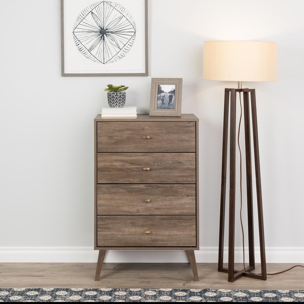 """Prepac Milo Mid Century Modern 56"""" Tv Console Stands In Trendy Prepac 4 Drawer Drifted Gray Milo Mid Century Modern Chest (View 9 of 10)"""