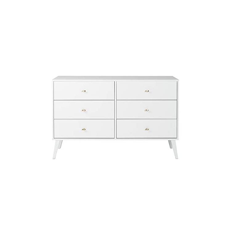 "Prepac Milo Mid Century Modern 56"" Tv Console Stands In Trendy Prepac Milo Mid Century Modern Dresser, 6 Drawer, White (View 2 of 10)"