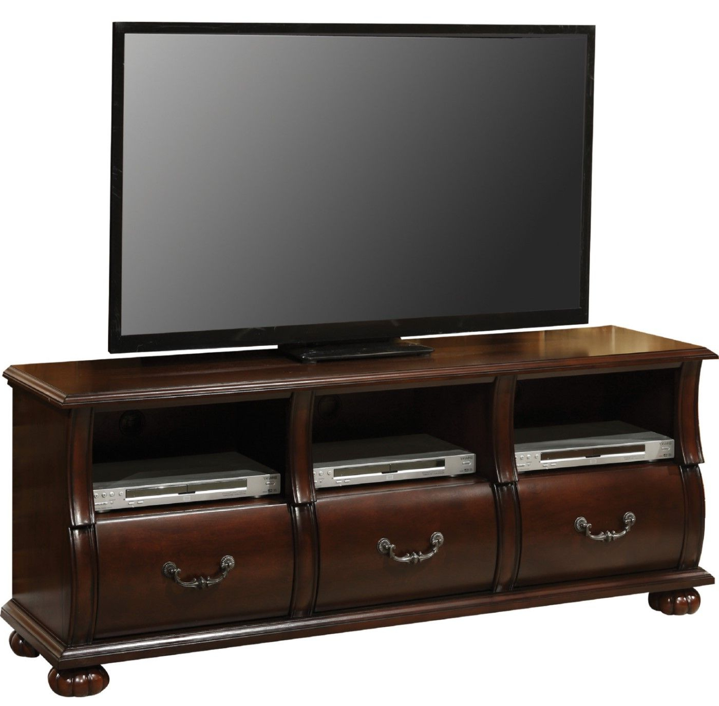 Prescott Traditional Dark Cherry Tv Stand With Serpentine Intended For Most Popular Tv Stands (View 15 of 16)