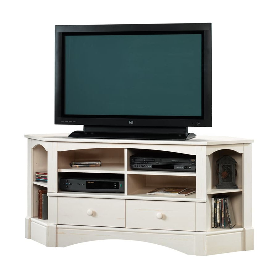 Priya Corner Tv Stands With Fashionable Sauder Harbor View Antiqued White Corner Tv Stand At Lowes (View 3 of 25)