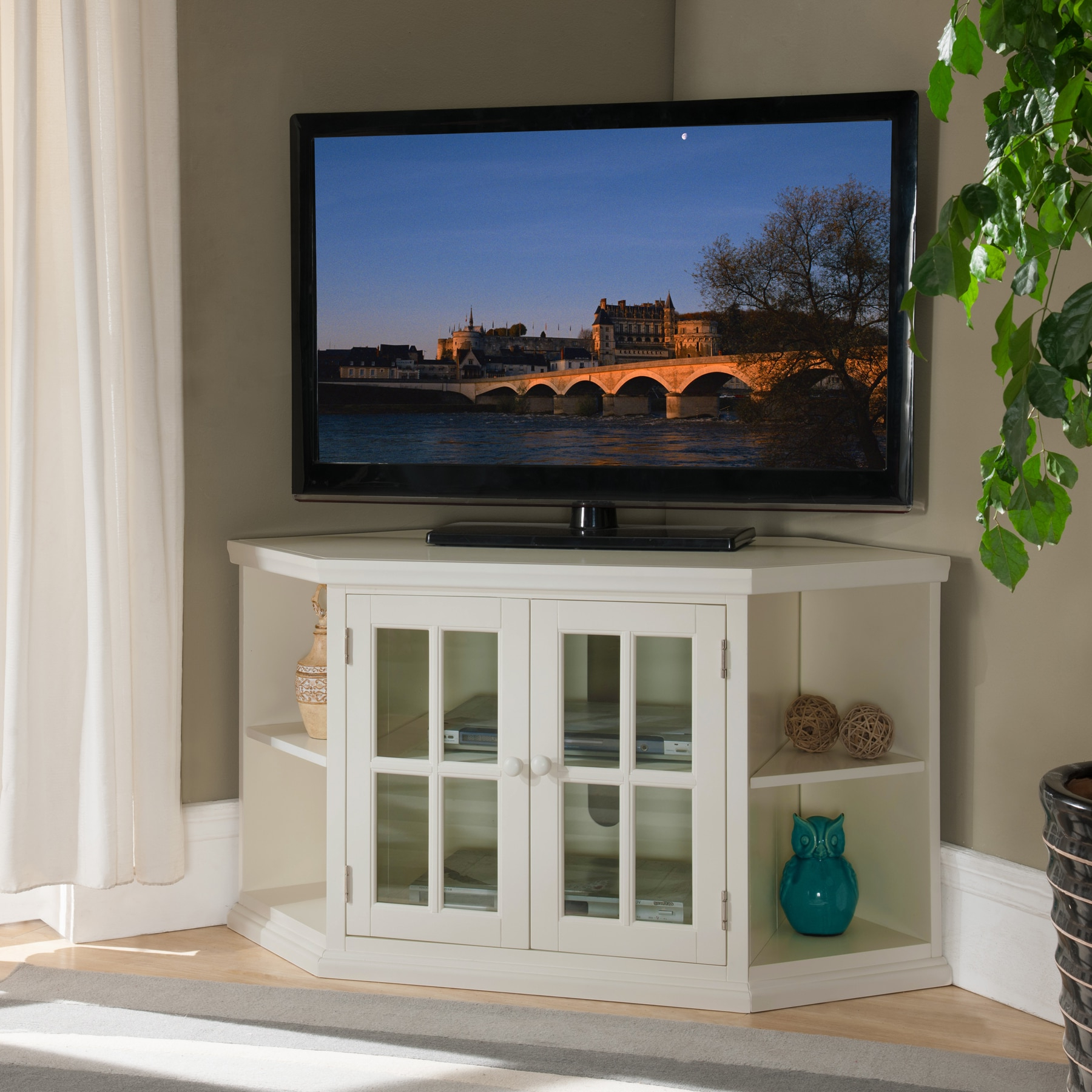 Priya Corner Tv Stands With Regard To Most Recently Released Shop White 46 Inch Corner Tv Stand With Bookcases – Free (View 12 of 25)